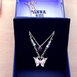 NEW! ANNA SUI Butterfly Double Necklace
